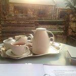 tea service on veranda