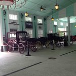 Inside the stables -- historical carriages on display.