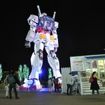 View of Gundam from merchandise shop and cafe