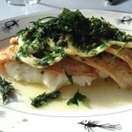 Sauteed Oregon Petrale sole a la Meunier with Roasted Garlic Mash Potato & Lemon-Caper Meunier S