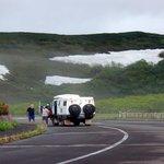 残雪が残っている羅臼岳
