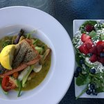 Seared wild salmon and half spinach salad