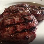ribeye steak, cooked to perfection