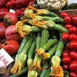 Zucchini flowers at Rialto Market. We serve them on tour! (stuffed with mozzarella cheese & anch