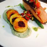 Fish of the day - crispy skin salmon w/ olive stuffed gnocchi, smoked eggplant purée and tomato