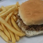 Lunch menu's pulled pork roll with chips were rather bland, with no salad nor sauce inside.  Ch