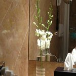 orchids in our hotel room bathroom