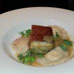 Crispy Pork Belly with prawn dumpling
