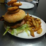 Stacker burger, home cooked chips, onion rings.