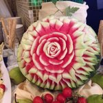 A watermelon presented like this in the main restaurant
