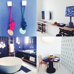 Wonderful blue and white rooms by Paola Navone