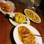 Crab cakes, cornbread, Mahi Mahi, Frog legs