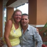 My wife Heather with Peter the manager