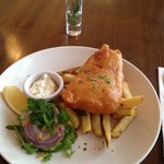 Half portion of fish and chips €6.95. Perfect size and great value!!