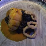 Lobster with squid ink risotto delicious