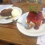 Walnut cake and strawberry cheesecake