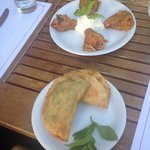 Stuffed zucchini flower and filo pastry with cheese and herbs