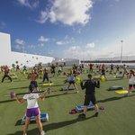 Volcano aerobics and dance arena