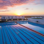 Two 50m south pools at sunset