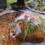 """""""Small"""" chimichanga w/ beans and rice"""