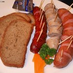Various Sausages with German Bread