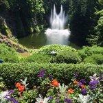 Fountain in sunken garden