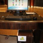 Computer at the business center operates with coins