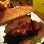 Inside of my mozzarella and bacon added kangaroo burger
