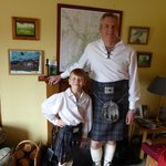 Dressing up for the boys in full Scottish attire to eat a Burn's night super.