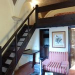The first room in the review, mezzanine bed area and stairs