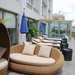 The sun loungers on the balcony