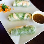 Lunch special summer rolls with shrimp/beef, peanut sauce