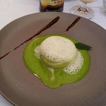 Starter of Special Montpelli fish and cucumbers in pieces, surrounded by cucumber mousse with pe