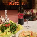 Wine, Tabouli, and Hummus