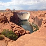 Glen Canyon Dam and Colorado River from Scenic View Road - July 2014
