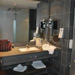Bathroom decor is modern