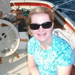 My wife at the helm--a risky adventure