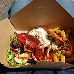 Delicious lobster and chips!