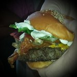 My burger--The Works...mmmmm YUM :)