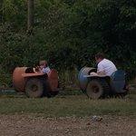 Choo choo! Mabie Park Farm express!!! Watch out its messy :)