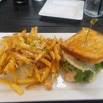 Trukey Bacon Brie Sandwich with Truffle Fries