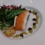 Starter 1: White crab meat, cream cheese, smoked salmon, watercress, capers.