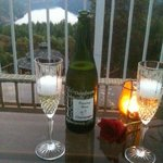Chilled wine, roses, and a great view from our private patio!