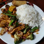 Chicken and veggies five star.  So yummy lunch special! ! Lots of peppers but if you like spicy