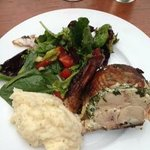 Fire roasted chicken with salad greens and polenta