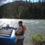 my husband enjoying the river after exiting the boat