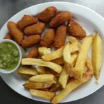 Scampi, Chips & Mushy Peas