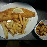 Battered Haddock, Chips & Roast Ginger Root Veg