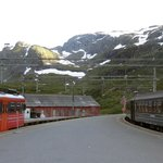 Myrdal terminus and snow-capped mountains