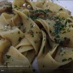 home made pappardelle with fresh porcini